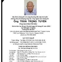 Cáo Phó của gia đình Trần Quang Kim