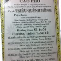 Thân mẫu bạn Nguyễn Văn Việt (ACK74)